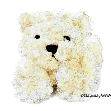 White Teddy Bear Art Print, Digital Watercolor Decor - Digital File Only, INSTANT DOWNLOAD Nursery Art, Baby Child Kids Room Bedroom
