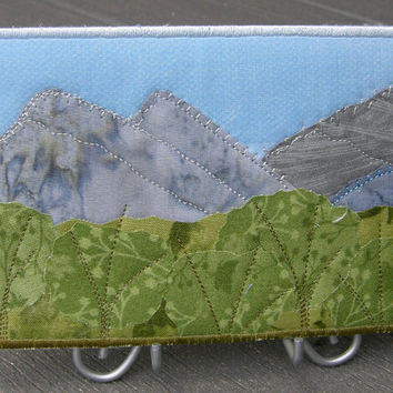 Quilt Art, Fabric Postcard, Landscape, Tall Mountains, Hills,  Greeting Cards, Smoky Mountains, Rocky Mountains