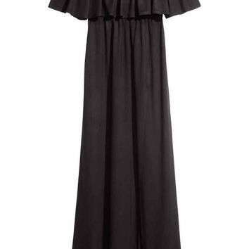 Off-the-shoulder maxi dress - Black - Ladies | H&M GB