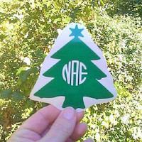 Christmas Trees, Tree Monogram, Party Cup Decals, Holiday Party Decor, Set of Stickers