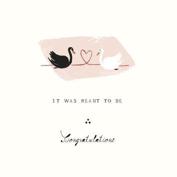 Lovers on the Pond Swan Engagement Card