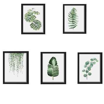 1Pcs!  Fashion Watercolor Tropical Plant Leaves Canvas Art Print Poster Nordic Green Plant Leaf Rural Wall Pictures Home Decor