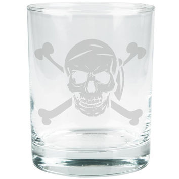 Jolly Roger Pirate Skull And Crossbones Etched Glass Tumbler
