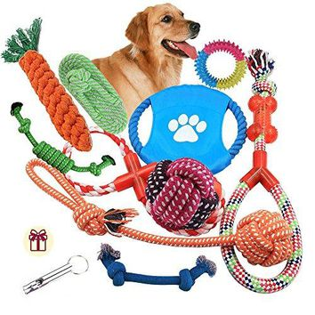 Pet Supplies : Dog Rope Toys 10 Pack Set Pet Puppy Teething Chew Rope Tug Assortment for Small Medium Large Dogs Breeds