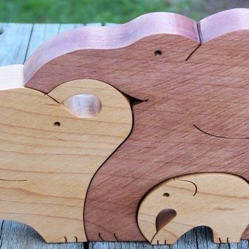 Animal puzzle Maple wood scroll saw cut 3 elephants - Handmade Crafts by BasketsByDebi