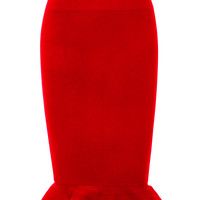 Red Flared Hem Bandage Skirt