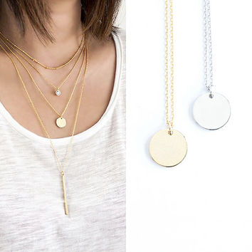 Disc Necklace, Gold / Silver, Round Coin Charm, Layered Jewelry, LJ