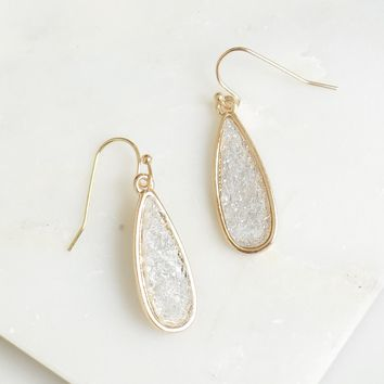 Stone Drop Earrings Clear/ Gold