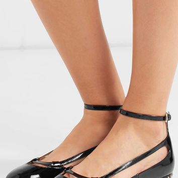 Valentino - Studded cutout patent-leather ballet flats