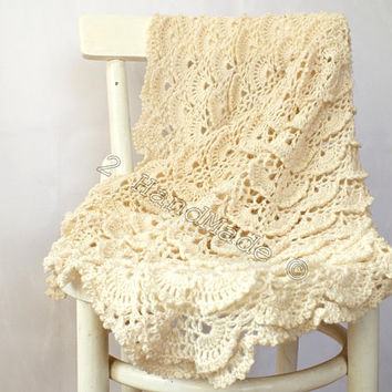 Ivory Lace Shells  Crochet Newborn Baby Blanket Christening Baptism Baby Shower Nursery Decor Baby Boy Girl Gift Baby Keepsake