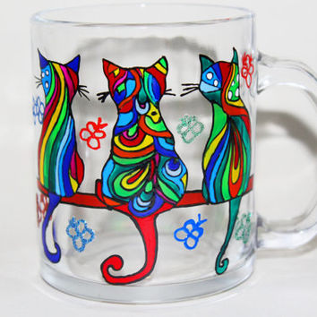 Coffee Mug Cat, Mug Hand Painted, Hand Painted Glasses, Funny Cat mug