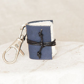 miniature book keychain book lover literature gift for reader mini book club, leather keyring, leather keychain men keychain leather key fob