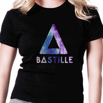 Bastille Band Cool Logo Galaxy TV Womens T Shirts Black And White
