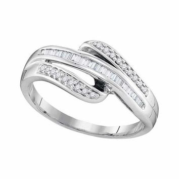 10kt White Gold Women's Baguette Channel-set Diamond Triple Row Band Ring 1-5 Cttw - FREE Shipping (US/CAN)