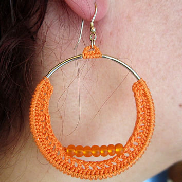 silver earrings,round earrings,circle earrings, beads earrings,orange hoops,dangle earrings,crochet earrings,orange earrings,earrings unique