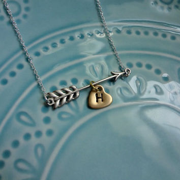Lovestruck Arrow and Hearts Necklace Mixed Silver and Gold Rhodium Plated Sterling Silver Hand Stamped