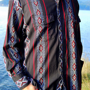 Southwest southwestern WRANGLER Western Shirt XXL - 100% Cotton - Native Print Dress Shirt in Black Red and Blue - Country Cowboy Shirt