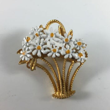Vintage Retro Costume Jewelry Gold Toned White Painted Daisy Flower Basket Pin Brooch