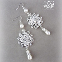 Wedding Earrings Rhinestones & Swarovski Pearl Crystals Bridal Earrings Wedding Jewelry Bridesmaid
