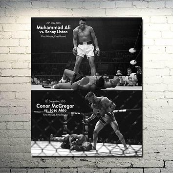POPIGIST-CONOR McGREGOR Muhammad Ali UFC MMA Motivational Silk Poster 24x30 inches Pictures For Living Room Decor Great Gift