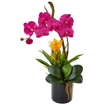 Artificial Flowers -Dark Pink Orchid And Bromeliad In Glossy Black Cylinder
