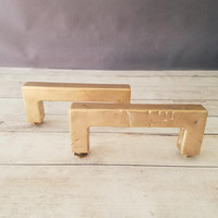 Rustic Brass Pulls/ Barn Door Bulls/ Vintage Door Pulls/ Large Brass Pulls/ Antique Brass Hardware/ Extra Large Brass Pulls/ Large Door Pull
