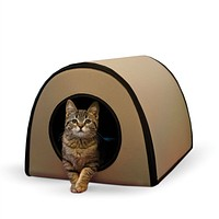 Modern Heated Outdoor Cat House Shelter in Tan