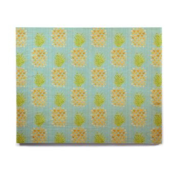 "Noonday Design ""Heart Pineapples"" Yellow Teal Painting Birchwood Wall Art"