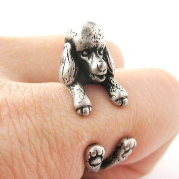 Realistic French Poodle Shaped Animal Wrap Ring in Silver | Sizes 4 to 8.5
