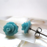 Turquoise rosette earrings teal roses on by LazyOwlBoutique