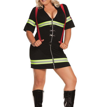 Plus Size Ms Blazin' Hot - 2 pc costume includes dress and belt with attached suspenders Black