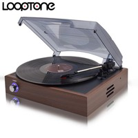LoopTone 33/45/78 RPM Bluetooth Vinyl LP Record Player Turntable Players With 2 Built-in Speakers Line-out AC110~130V&220~240V
