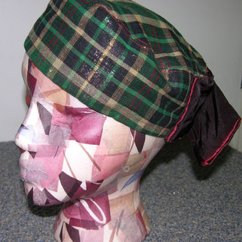 Plaid Pill Bot hat with Big Bow