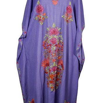 Mogul Womens Kaftan Floral Embroidery Kashmiri Cover Up Caftan Evening Dress