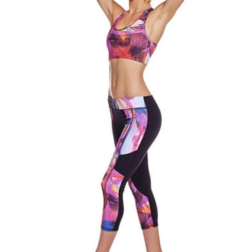 SALE - Colorblock Yoga Capri with Pockets - Womens Activewear - Printed Leggings - 2Tone Hidden Pocket Capri - Abstract Paint - B016