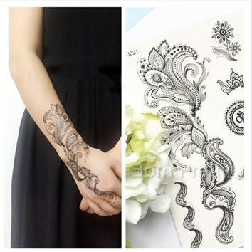 Random Delivery 1 Sheet Black Lace Tattoo Sticker Elephant Dandelion Henna Temporary Flash Body Art (Random Pattern) # 21763