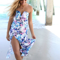 Belize Floral Print Tube Top High Slit Maxi Dress
