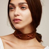 Free People Double Crossed Suede Choker