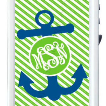 Monogrammed Lifeproof Case iPhone 4/4s or 5 Boats & Bows Print by conniption Prints