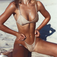 Sexy Nude color low chest two piece bikini set