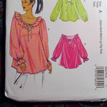 SALE Uncut McCall's Sewing Pattern, 6679! Women's/Misses SX-XXL Plus/Ruffle Collar Blouses/Long Sleeve Shirts/Loose Fitting/Hippie Casual