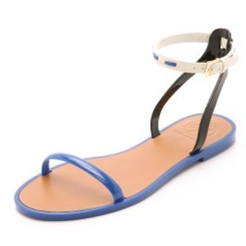 Leather Ankle Strap Jelly Sandals