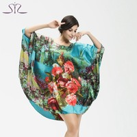 Top Sale Summer Style Silk Women Pyjamas Home Clothing Floral Print Round Neck Plus Size Women Sleep Lounge 10225