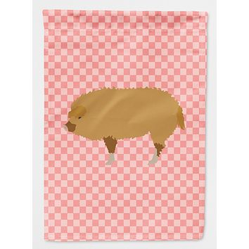 Hungarian Mangalica Pig Pink Check Flag Canvas House Size BB7934CHF