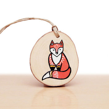 Christmas Ornament, Fox Ornament, Hand Painted Fox Art, Christmas Tree Decoration, Stocking Stuffer Under 30 with Gift Box