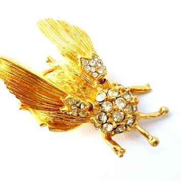 Hattie Carnegie Trembler Bee/Fly Brooch Pin