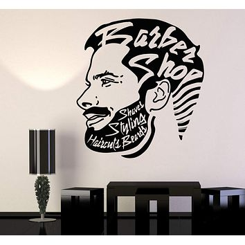 Vinyl Wall Decal Barbershop Hipster Beard Hair Stylist Salon Stickers Unique Gift (854ig)