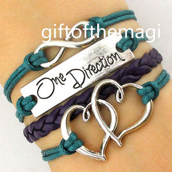 double heart,One Direction, & infinity karma Charm Bracelet Antique silver- Wax Cords Leather bracelet--the best friendship gift 1085