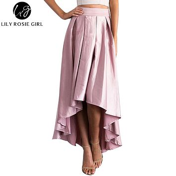 Elegant Ruffles Asymmetrical Maxi Long Satin Skirts Women Autumn Winter Sexy Party Girls Black Skirts Sashes Pleated Skirts