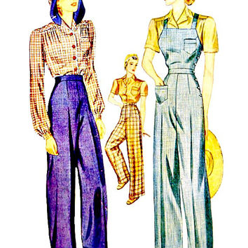 40's Rosie the Riveter Side Button Overalls Slacks Blouse Optional Hood Vintage Simplicity 3322 Sewing Patterns Non Printed Size 14 Bust 32